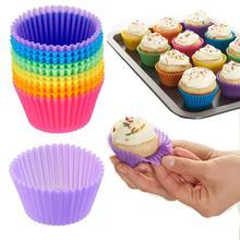 12 шт. форма для выпечки, форма для выпечки, круглая силиконовая форма для кексов, форма для кексов, лоток для выпечки, инструменты для украшения тортов