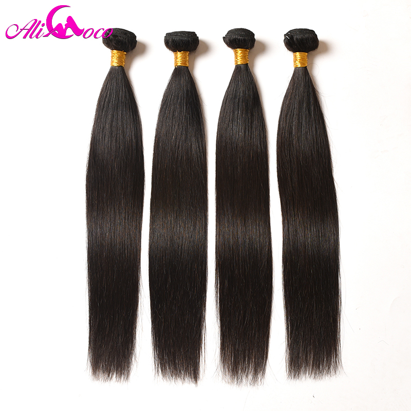 Ali Coco Brazilian Straight Hair 4 Bundles 100% Human Hair 8-28 Inch Brazilian Hair Weave Bundles Non Remy Hair Extensions