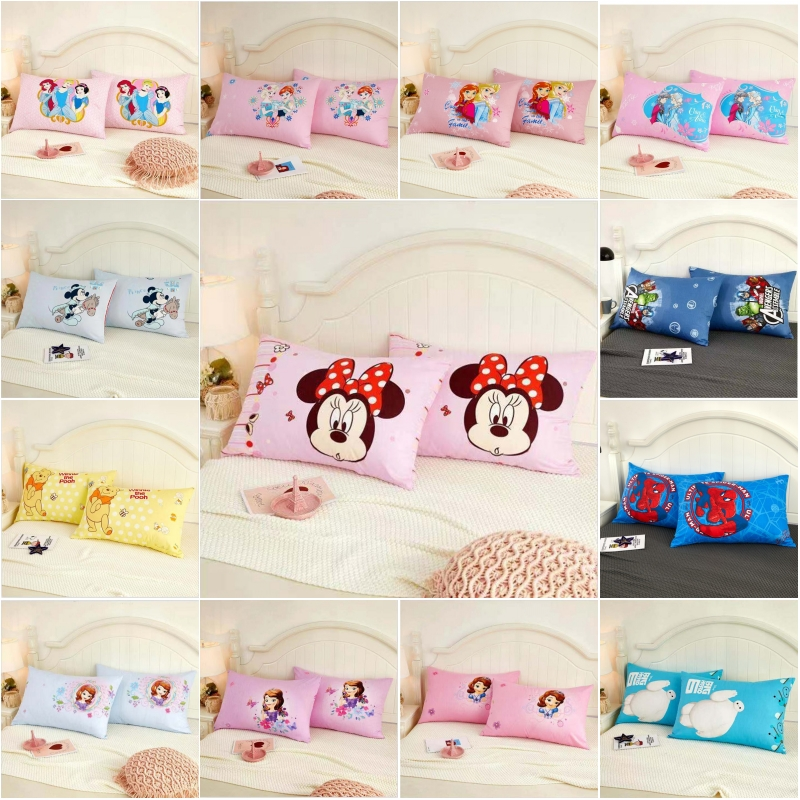 Disney Cotton Cartoon Minnie Mickey Frozen Princess Sophia Baby Kids Pillowcases Boys Girls Pillow Cover Decorative Pair 48x74CM