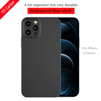 YTF-غلاف هاتف خلوي من ألياف الكربون ، حافظة بفتحة رفيعة ، مقاومة للسقوط ، لهاتف iphone 12 mini 12 Pro 12 Pro Max