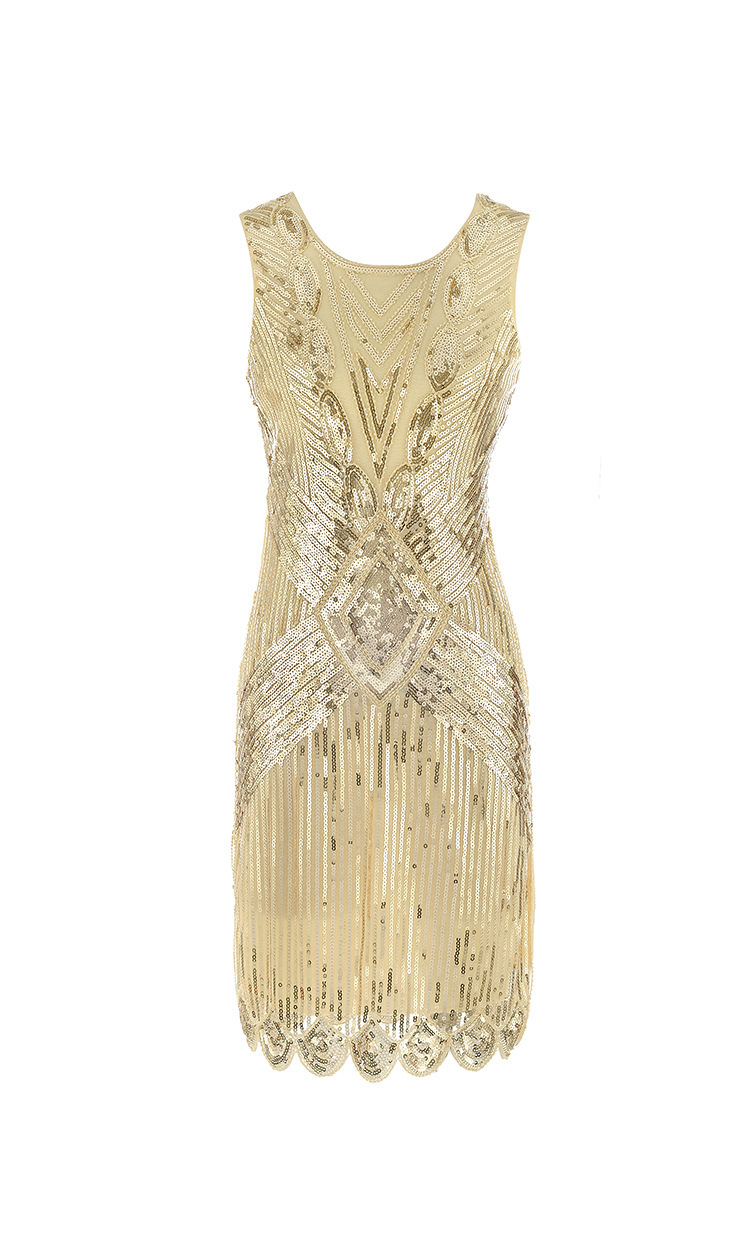 Retro Tassels Evening Gown Europe And America 4-Color 1920 Retro Sequin Tassels Costume Dress