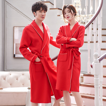 Autumn Winter Bathrobe Lovers Cotton quilted sleep top Kimono Robes For Male Solid Robes Long Bath Robe Bride Robe Dressing Gown