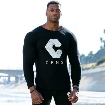Casual Skinny Long sleeves t shirt Men Gym Fitness Bodybuilding Cotton Print T-shirt Male Workout Black Tees Tops Brand Clothing - discount item  40% OFF Tops & Tees