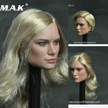 1/6 female action figure doll head MC002 Brie Larson Female Head Sculpt with Long Golen Hair for 12inches Body Fans collection цены