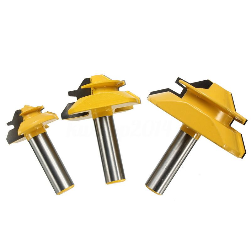 3Pcs 1/2 Inch Shank Lock Miter Glue Joint Router Bit 45 Degree Woodwork Cutter Set