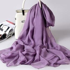 Image 5 - 100% Sciarpa Di Seta Reale Delle Donne Sottile Chiffon di Seta Scialli Involucri per le Signore Solido Fazzoletto Da Collo Hangzhou Naturale Sciarpa di Seta Foulard Femme