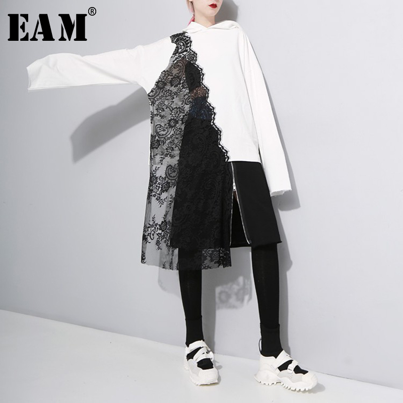 [EAM] Women Black Lace Spliced Asymmetric Blouse New Hooded Long Sleeve Loose Fit Shirt Fashion Tide Spring Autumn 2020 1A333