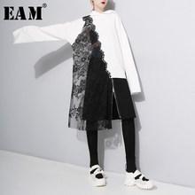 [EAM] Vrouwen Black Lace Spliced Asymmetrische Blouse Nieuwe Hooded Lange Mouwen Loose Fit Shirt Mode Tij Lente Herfst 2019 1A333(China)