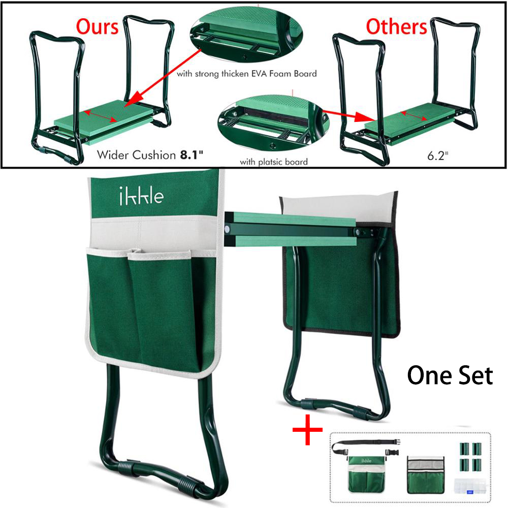 Folding Garden Kneeler and Seat Stainless Steel Tool with Bag EVA Kneeling Pad Foldable Garden Benches Gardening Tools