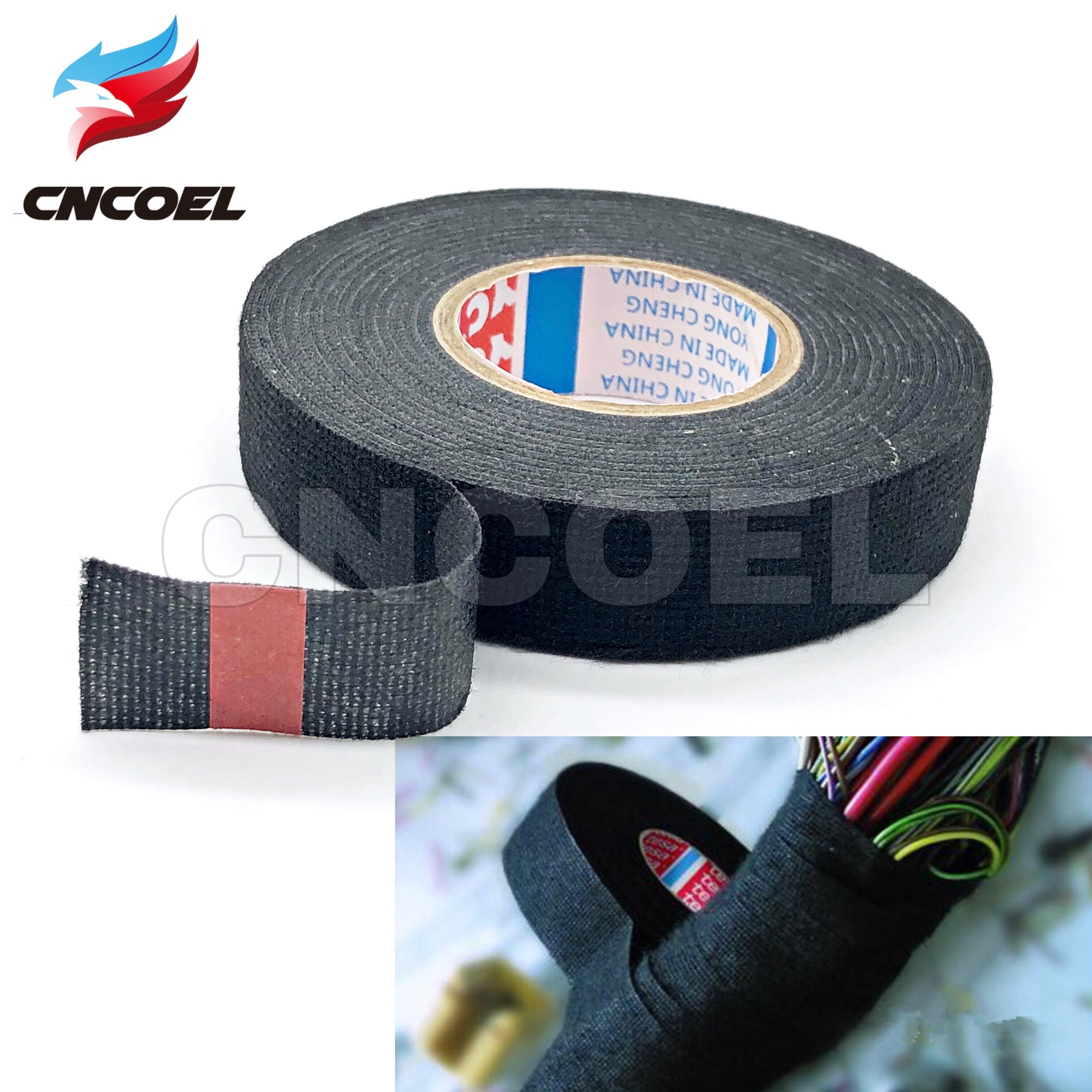 19mmx15M Wiring Harness Cloth Fabric Tape Adhesive Cable Protect For Car Auto