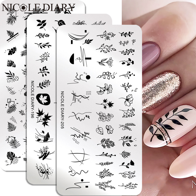 Stencil Templates Flower Face-Nail-Stamp Leaf Nicole Diary Floral-Printing Design Lady