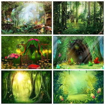 Fairy Tale Wonderland Dreamy Fantasy Forest  Jungle Nature Scenery Spring Backdrop Vinyl Photography Background For Photo Studio allenjoy photography backdrop frozens wonderland forest snow queen birthday fairy tale party deco photo background photophone