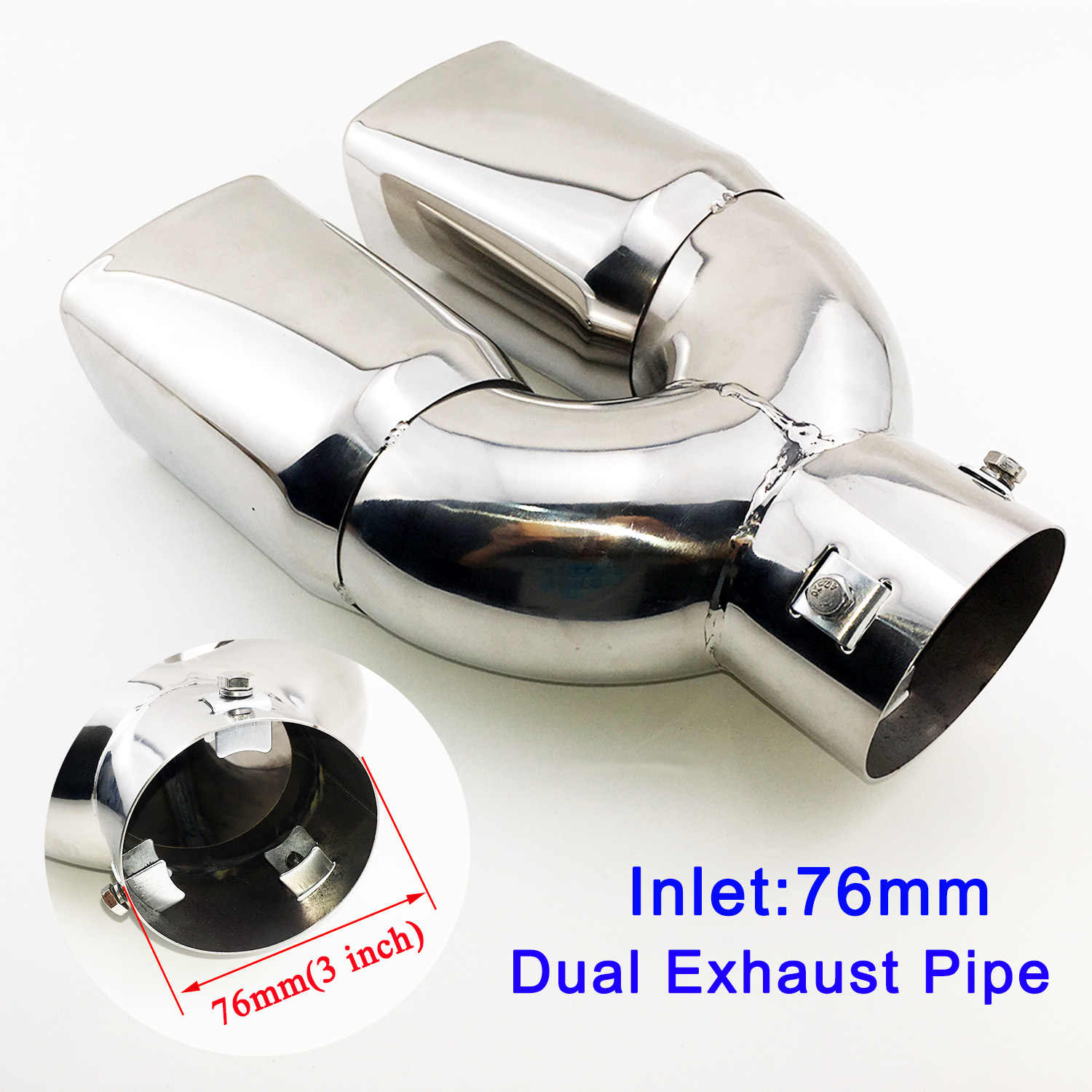 stainless steel rear exhaust muffler tailpipe universal 3 inch 76mm caliber inlet dual outlet tail end pipe tip cover part