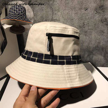 Hat women in spring and autumn and summer fashion zipper double-sided basin hat travel Korean Joker Japanese