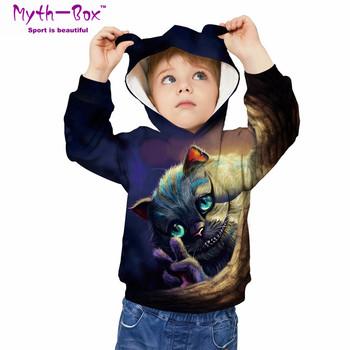 Dziecięce sportowe bluzy z kapturem kot 3D drukowane bluzy dziecięce Junior dziecko bluzki z długim rękawem swetry 5-12y chłopięce i dziewczęce swetry z kapturem tanie i dobre opinie Myth-box Pasuje prawda na wymiar weź swój normalny rozmiar Szybkie suche Wokół szyi TWQA Pełna Dzianiny Poliester