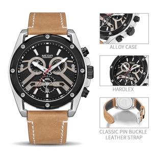 Image 3 - Megir Nieuwe Mode Heren Horloges Topmerk Luxe Grote Wijzerplaat Militaire Quartz Horloge Lederen Waterdichte Sport Chronograaf Horloge Mannen