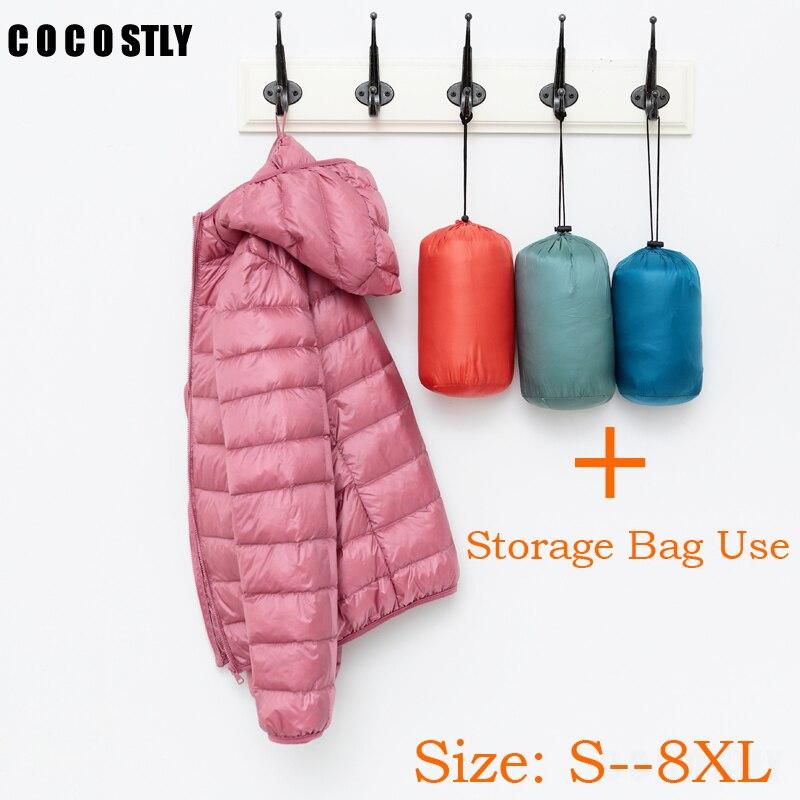 Ультра легкие куртки на утином пуху 90%, Женское зимнее пальто с капюшоном, теплая тонкая куртка с длинными рукавами 8XL, большие размеры, Женск...