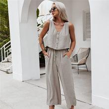 2021 moda primavera verão colete conjunto feminino casual cor sólida solta perna larga calças conjuntos de treino para mulher novo 2 peças conjuntos