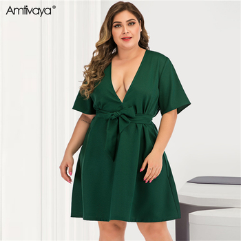 Amtivaya Women 's Plus Size Dress Summer 2020 Clothes Beach Sexy Party Dresses Long Sleeve V Neck Gothic Knee Length Midi Dress. dana kay women s plus size scarf fit and flare midi dress