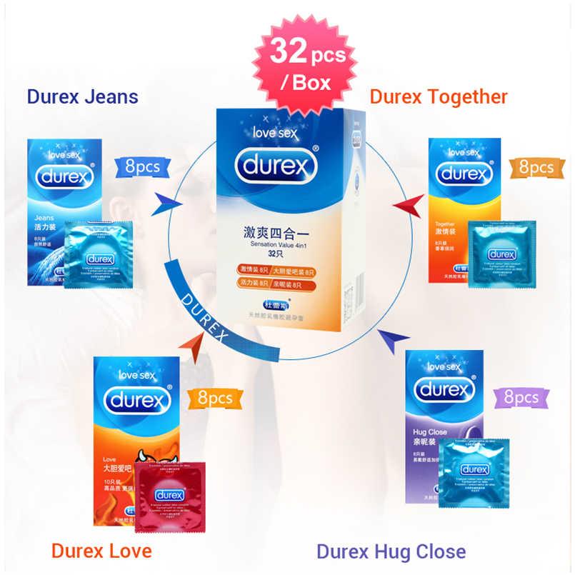 Durex 콘돔 100Pcs 4 가지 유형 감각 값 울트라 얇은 윤활 섹스 제품 남성용 천연 고무 라텍스 페니스 슬리브 섹스