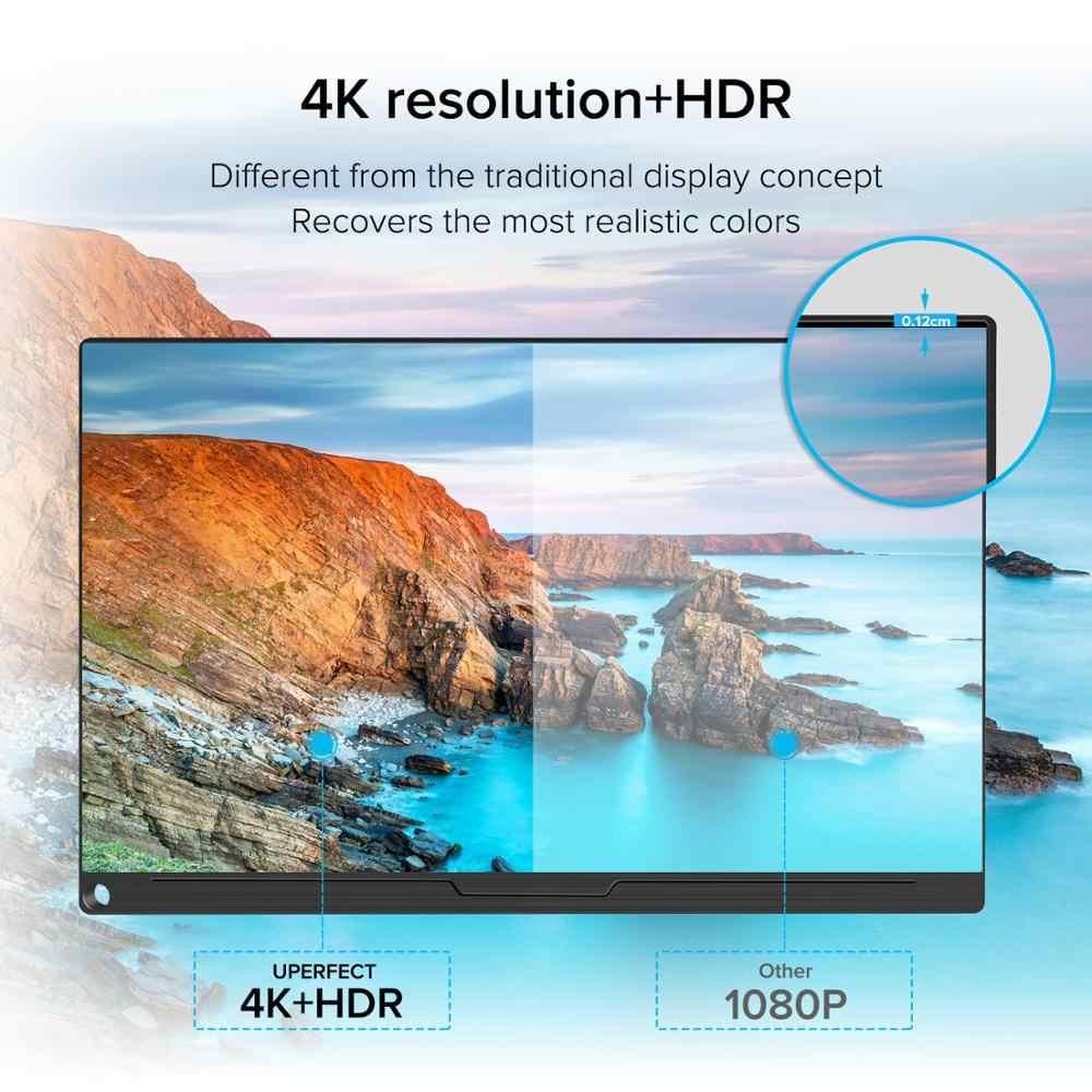 UPERFECT 4Kแบบพกพาสำหรับแล็ปท็อป 15.6 นิ้วIPS UHDจอแสดงผลWidescreen BacklitมือถือจอแสดงผลLCDสมาร์ทกรณีสำหรับเกม