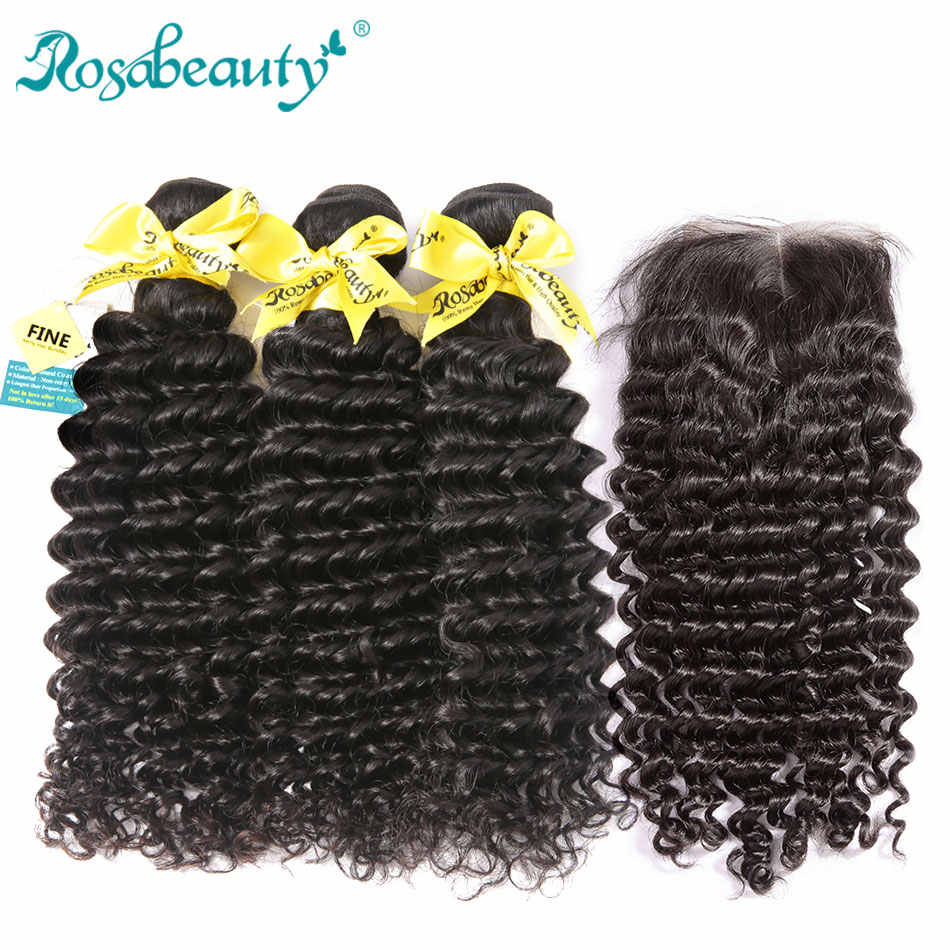 "RosaBeauty 8A Brazilian Deep Wave 3 Bundles With Closure Frontal 8-30"" 28 30 Inch Curly Remy Human Hair Weave With Lace Closure"