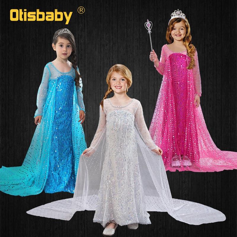 White Blue Elsa Dress For Girls Floor Length Long Tail Dresses Princess Elsa Dress Up Halloween Carnival Cosplay Costume Child