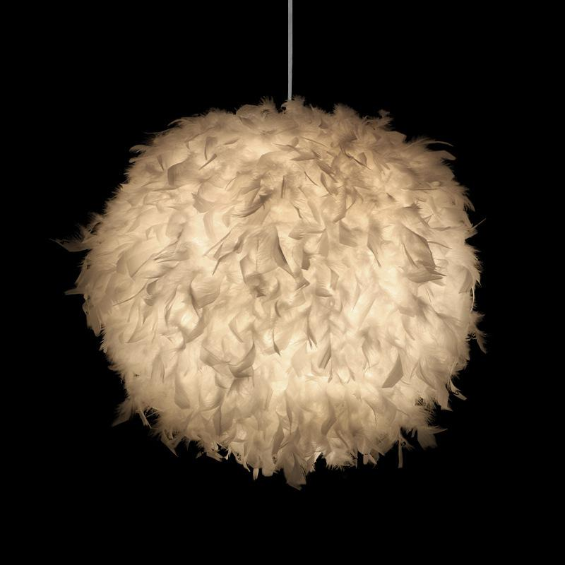 Kuulee LED Romantic White Feather Ceiling Lamp Hanging Pendant For Bedroom Living Room Decor 40W