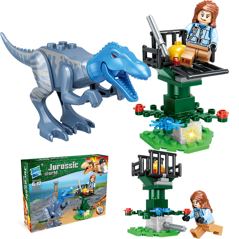Dinosaur building blocks Jurassic dinosaurs play building blocks scene small particles assembled DIY toys