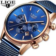 2019 New LIGE Blue Casual Mesh Belt Fashion Quartz Gold Watch Mens Watc