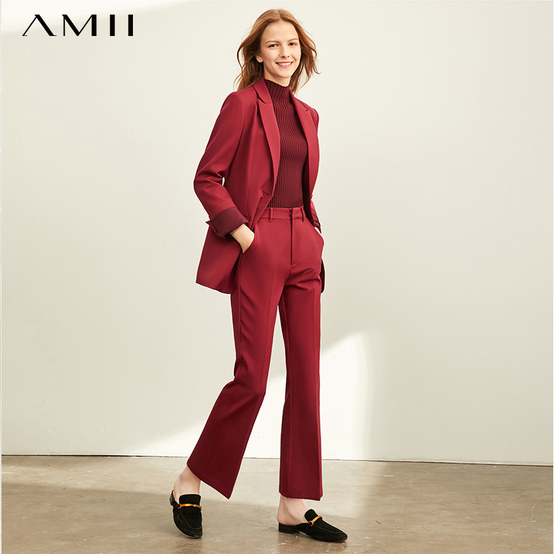 Amii Minimalist Vocational Fashion Leisure Suit Women's New Spring Suit With Broad-legged Pants Two-piece Suit 11920201
