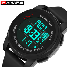 PANARS Men Digital Watches Outdoor Sports Alarm Clock Chronograph Watches Running LED Male Digital Watches Waterproof Watches cheap 26cm Plastic Buckle 5Bar Digital Wristwatches 50mm Silicone 17mm Acrylic Back Light Shock Resistant LED display Multiple Time Zone