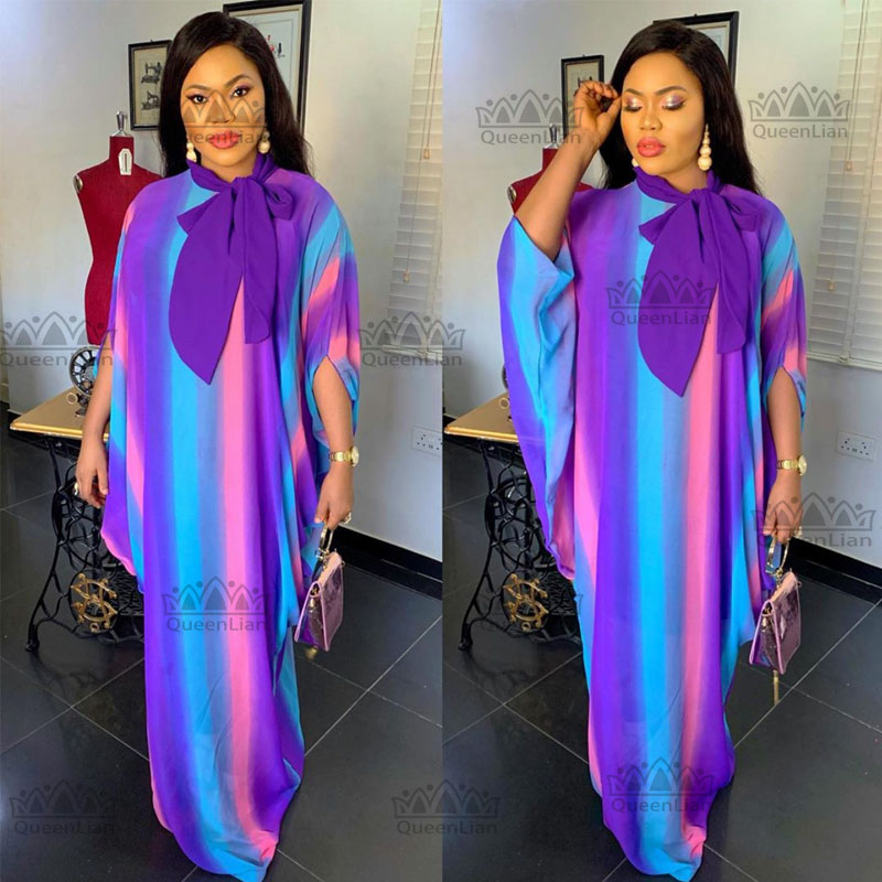 New Fashion Oversize African Chiffon Loose Long Dashiki Traditional Party Dress For Lady (CPXF02))