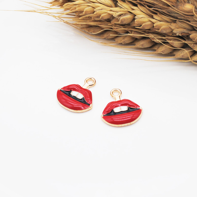 10PC Sexy Red Lips Mouth Zinc Alloy Enamel Charms Pendant Jewelry DIY Handmade Earrings Bracelet Necklae 2 Colors