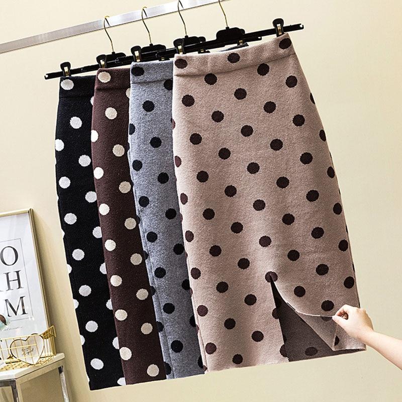 2019 Autumn Winter Polka Dot Knitted Skirt Women Stretch High Waist Soft Knit Skirts Woman