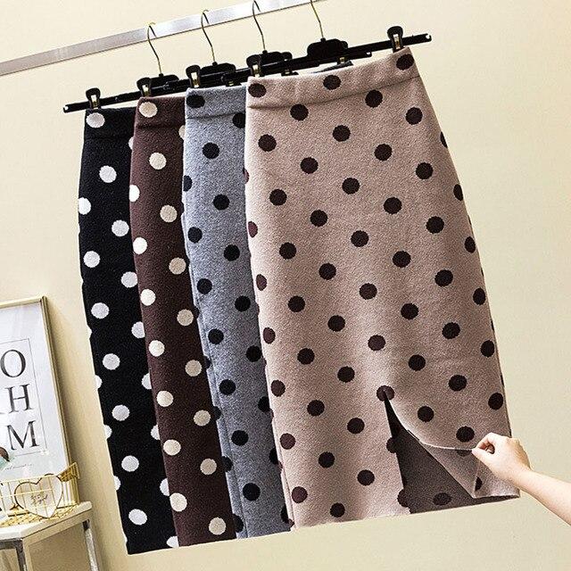 2019 autumn winter Polka Dot Knitted skirt women stretch high waist soft knit skirts woman 1