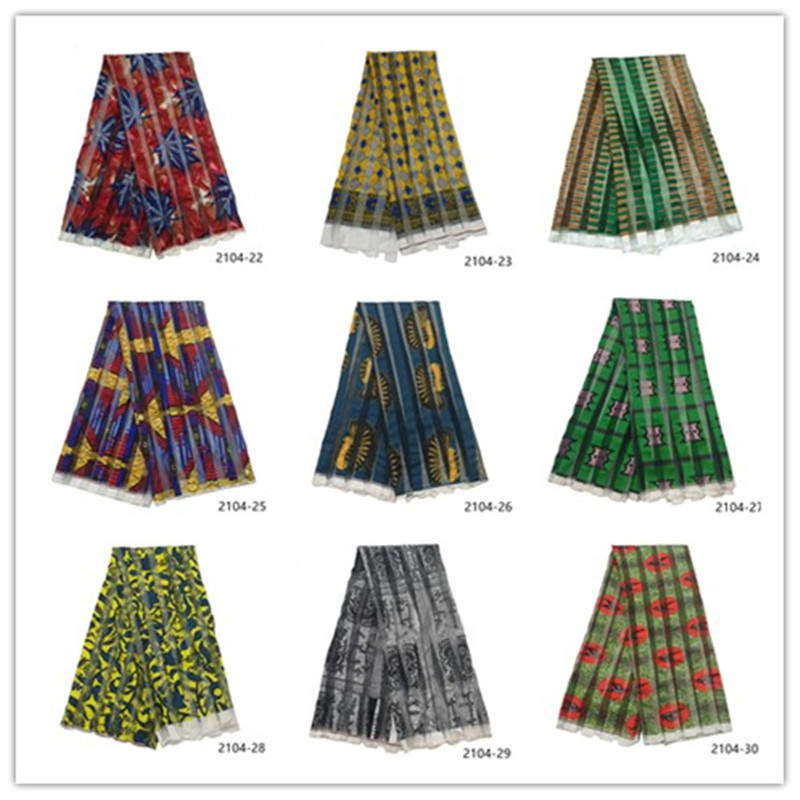 2019 chaud imité soie cire mousseline de soie ruban tissu africain ankara africain cire imprime ruban tissu 5 mètres/pièce 2104
