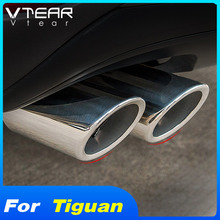 Vtear For Volkswagen VW Tiguan MK2 2020 2019 Car Exhaust Tip Muffler Pipes Cover Trim Stainless steel Exterior Refit accessories