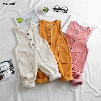 YATFIML Boys Baby sztruksowe spodnie dziewczęce kombinezony dziecięce kombinezony dziecięce kombinezony dziecięce kombinezony dziecięce tanie i dobre opinie COTTON Unisex Elastyczny pas Stałe Proste BDK055 Pasuje prawda na wymiar weź swój normalny rozmiar