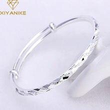 XIYANIKE – Bracelet manchette de fête en argent Sterling 925 pour femmes et Couples, bijoux créatifs simples faits à la main, ajustable, nouvelle mode