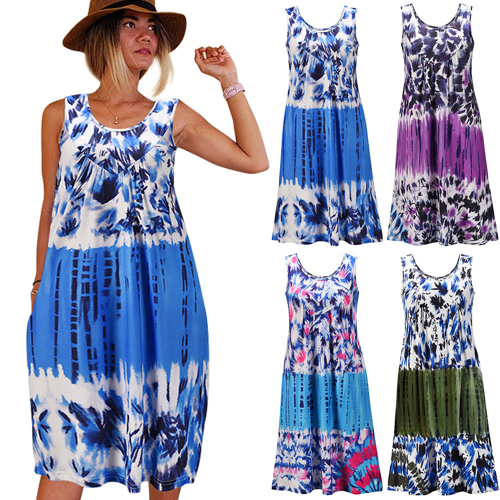 Summer Fashion Style Women Sleeveless O-neck Printing Plus Size Casual Midi Sundress Women Clothes Robe Beach Dress