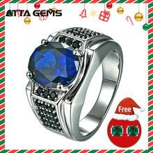 Голубое сапфировое серебряное мужское обручальное кольцо S925 7,2 карат Сапфир классический простой дизайн для мужчин хорошее ювелирное изделие подарок