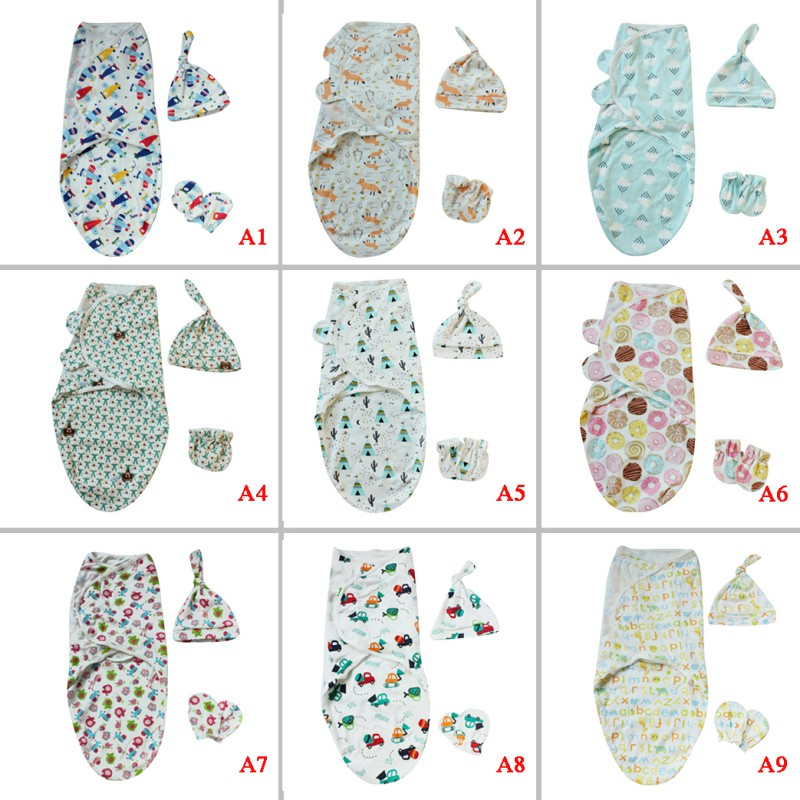Baby Sleeping Bag 0-3 MonthsCartoon Letter Print With Hats Gloves Set Newborn Anti-kick Sleeping Bags Knotted Cap Comfortable