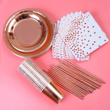 10 Person Meal / 20 Person Meal Gilded Party Tableware Set Cup Plate Napkin Straw Wedding Anniversary Party Decoration 030
