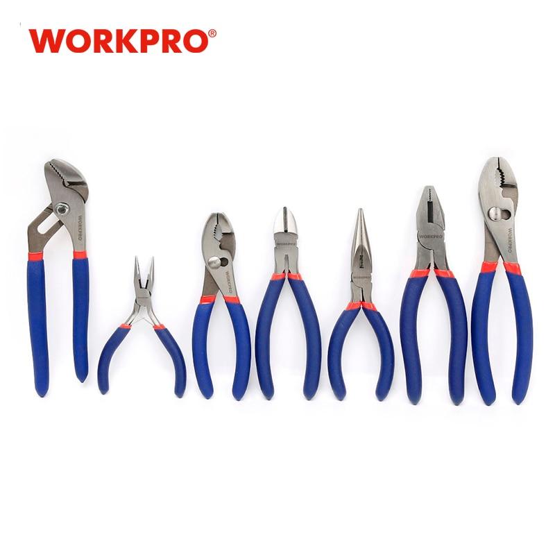WORKPRO 7PC Pliers Set Wire Cable Cutter Plier Set Dipped Handle Electrician Plumbing Plier Long Nose Plier