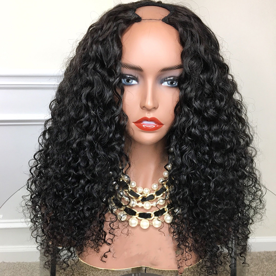 Kinky Culry 250% Density U Part Human Hair Wigs 1*3'' U Opening Peruvian Remy Hair Glueless Pre Plucked Baby Hair