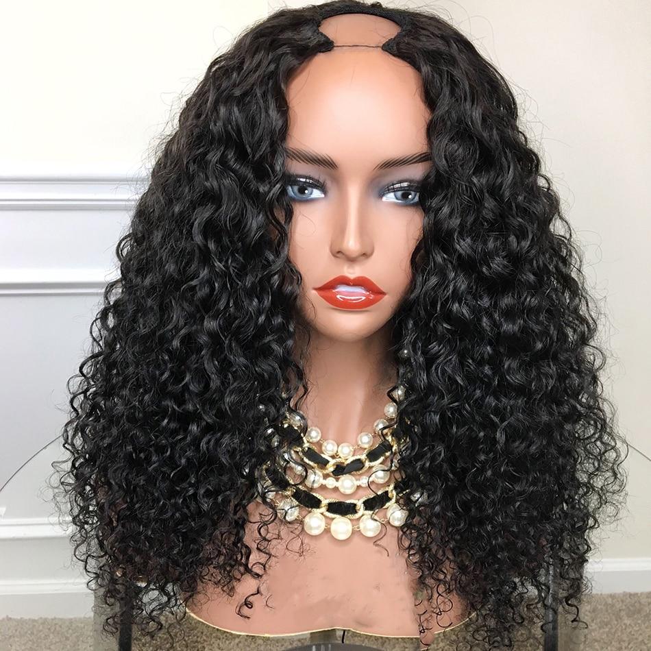 Kinky Culry 250% Density U Part Human Hair Wigs 1*3'' U Opening Peruvian Remy Hair Glueless Pre Plucked Baby Hair