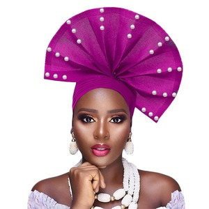 Image 2 - Free shippoing Stoned aso oke headtie headwrap turban africain gele headtie already made
