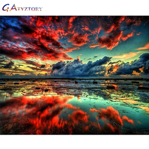 GATYZTORY DIY Painting By Numbers Red clouds Landscape Art Canvas digital Pictures For Home Decor Gift Calligraphy Wall