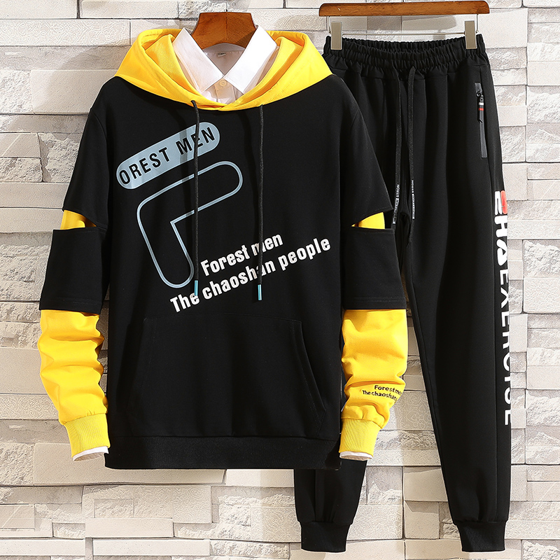 New Fashion Men's Sets Japan Style Autumn Winter Elastic Waist Trousers+Long sleeve Pullover Hoodies Set Casual Men Clothing Set